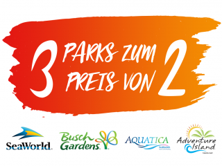 3 Park Ticket - 3 SeaWorld Parks zum Preis von 2!