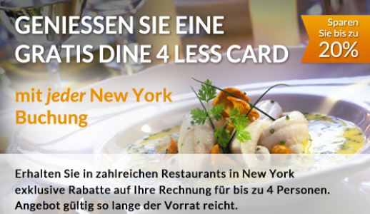 Gratis Dine 4 Less Card mit jeder New York Buchung