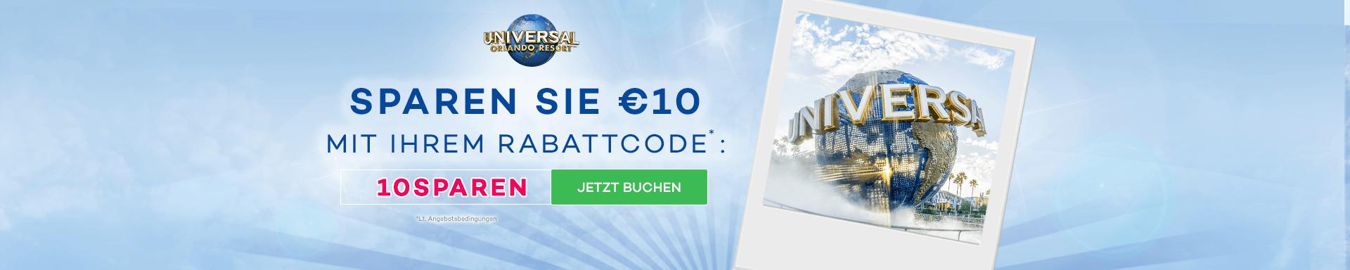 €10 Rabatt pro Person auf Universal Tickets