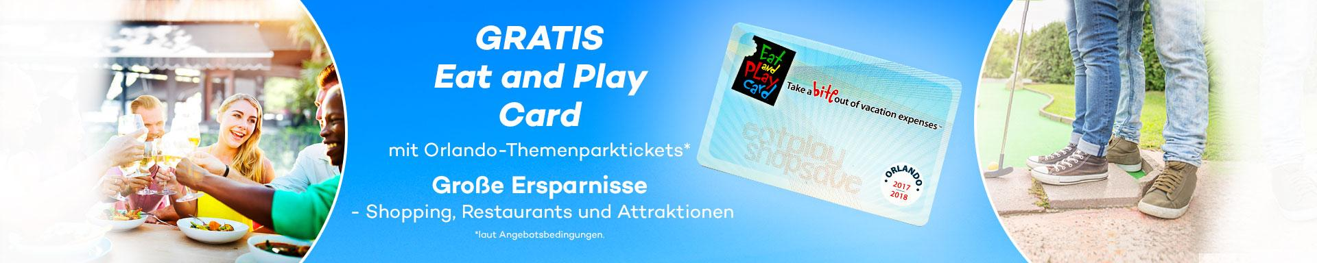 Gratis Eat and Play Card mit Orlando-Themenparktickets*