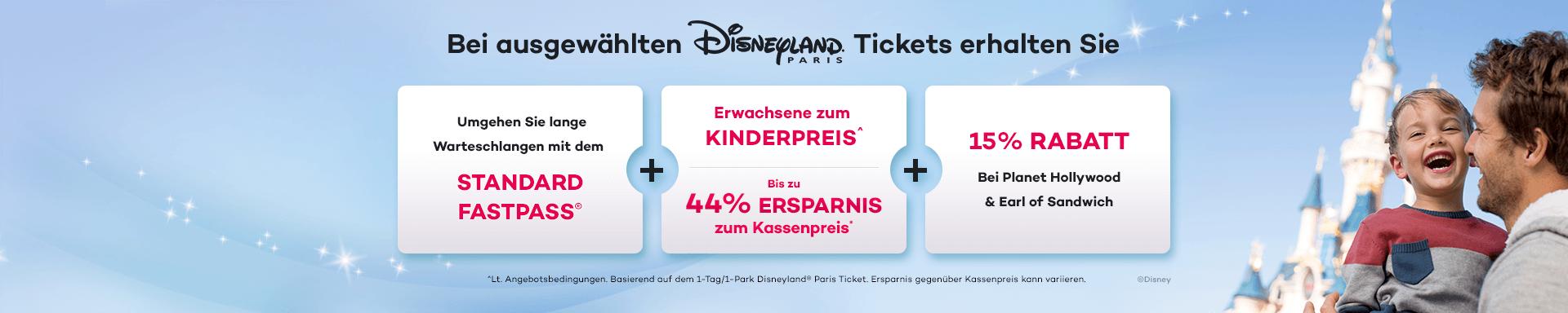 Sparen Sie bis zu 44% beim Kauf Ihres Disneyland Paris Tickets